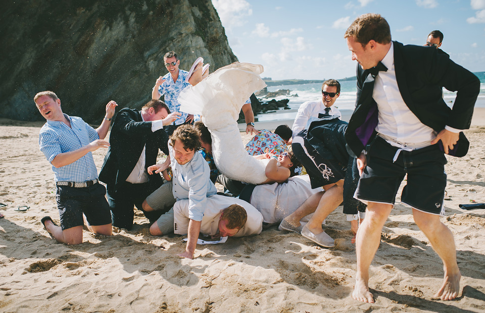 Beach wedding in Cornwall fun group photo