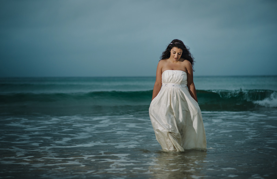 Lusty Glaze beach wedding photo