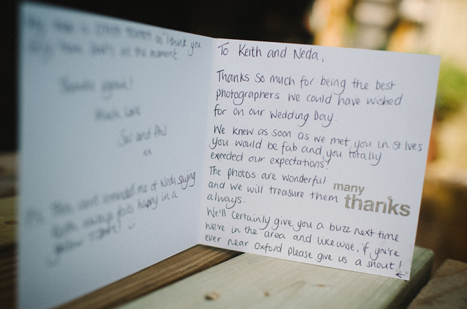Thank you card - St Ives Harbour Hotel wedding photography