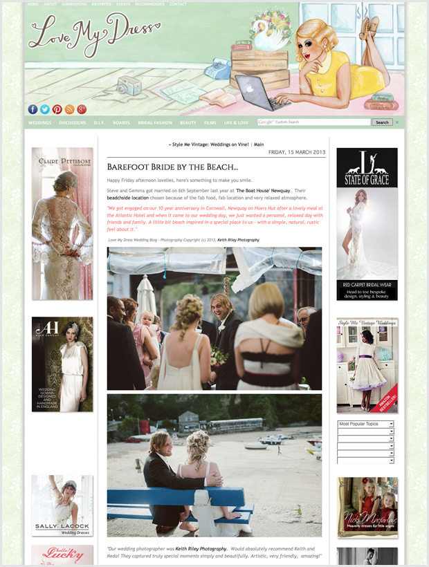 Newquay Harbour Wedding featured on Love My Dress