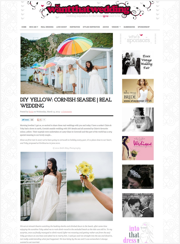 Lusty Glaze beach wedding featured on Want That Wedding Blog