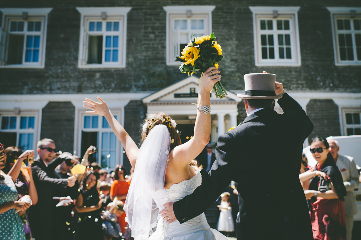 Wedding confetti at Buckland Tout-Saints, Devon