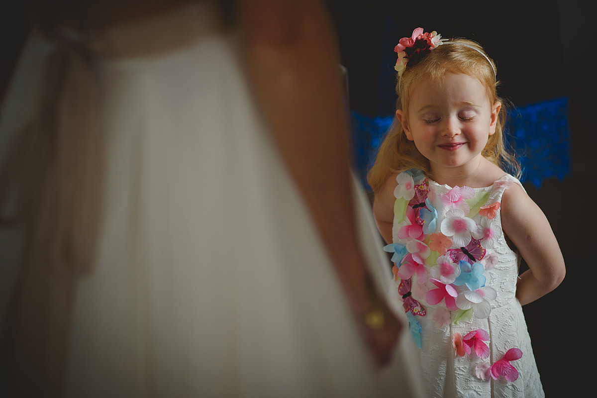 Flower girl at a Headland Hotel wedding