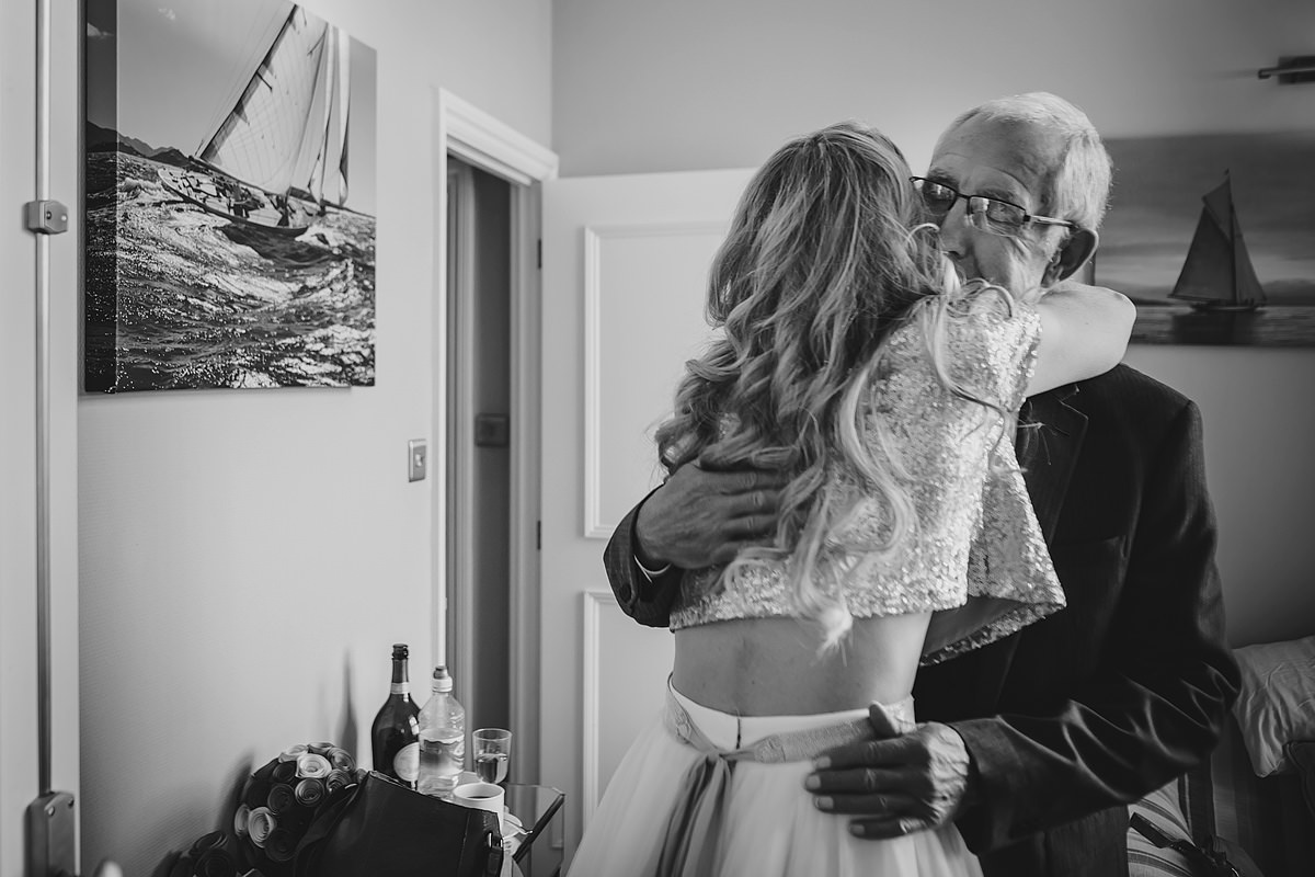 Bride and father of the bride at The Headland Hotel