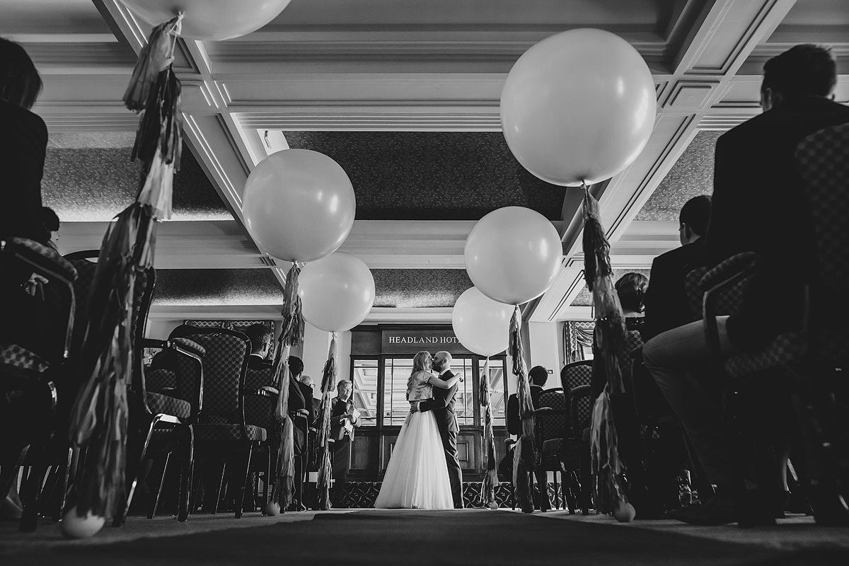 First kiss at Headland Hotel Newquay wedding