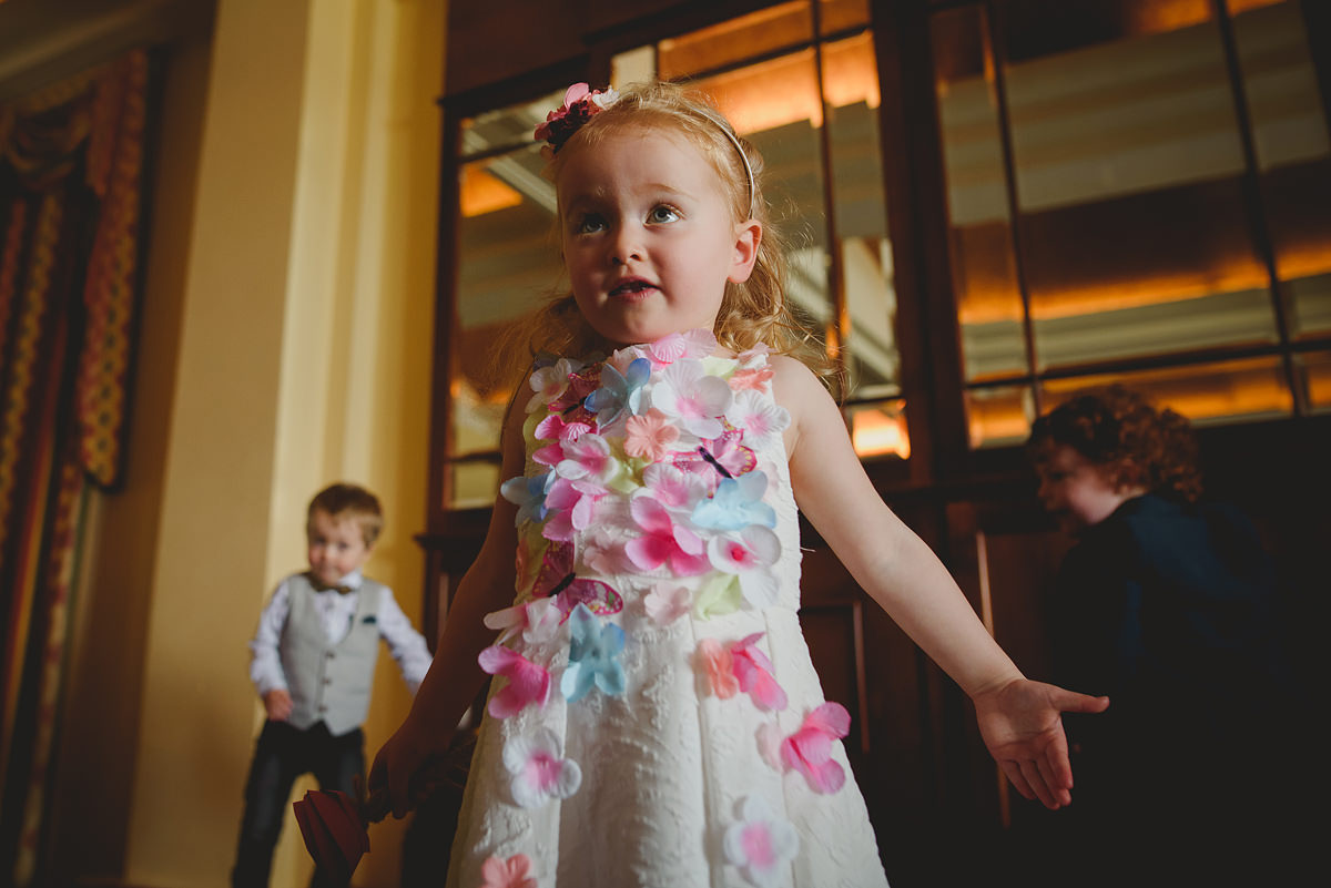Flower girl at a Newquay wedding
