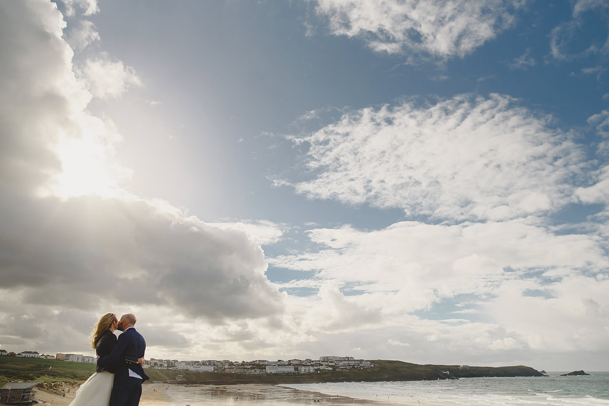 Bride and groom natural photo at The Headland Hotel