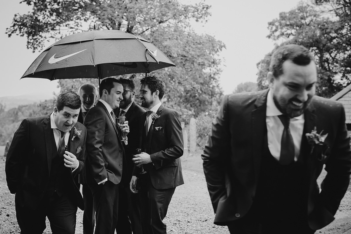 Rainy wedding photography at The Green Cornwall