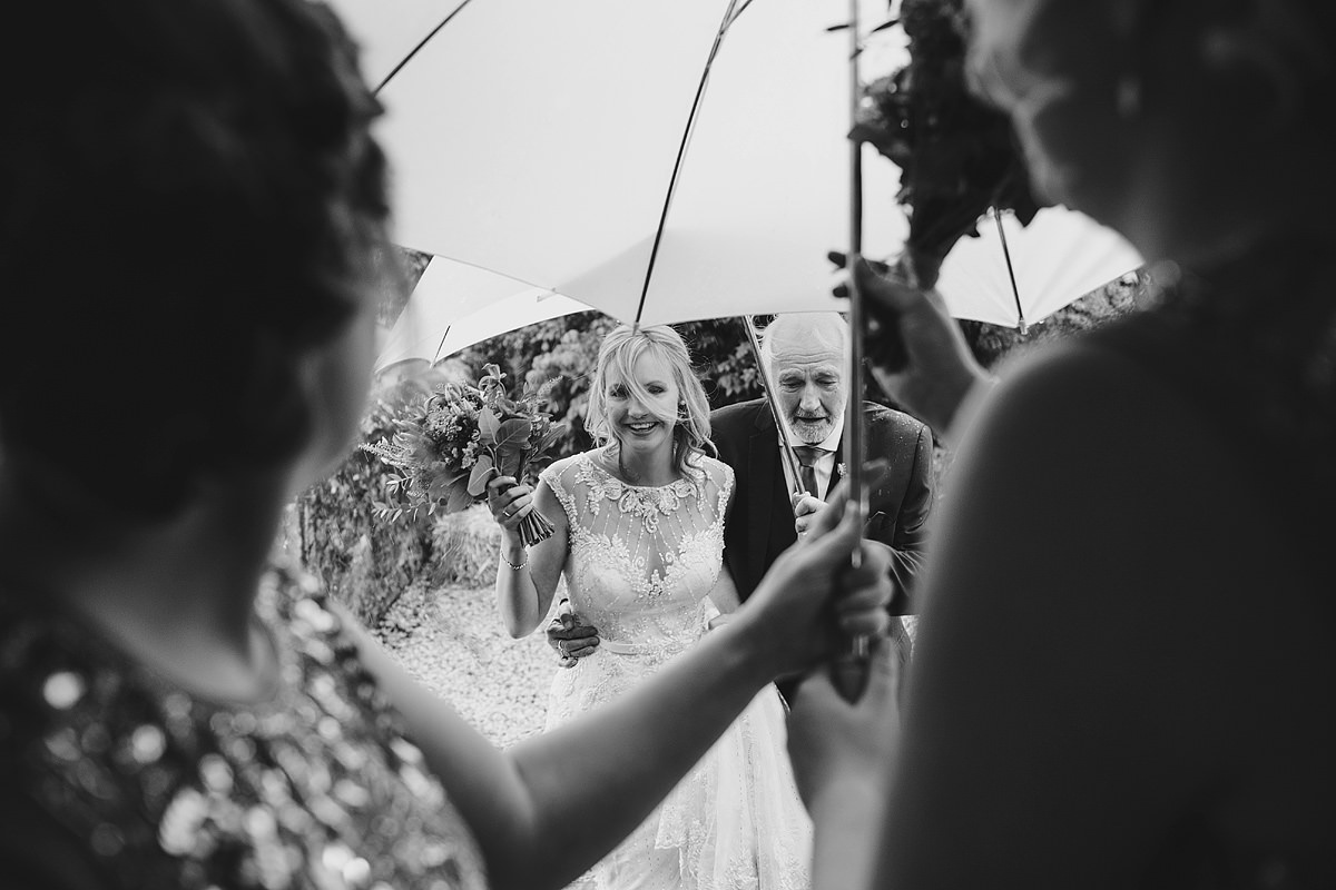 Rainy wedding at The Green Cornwall