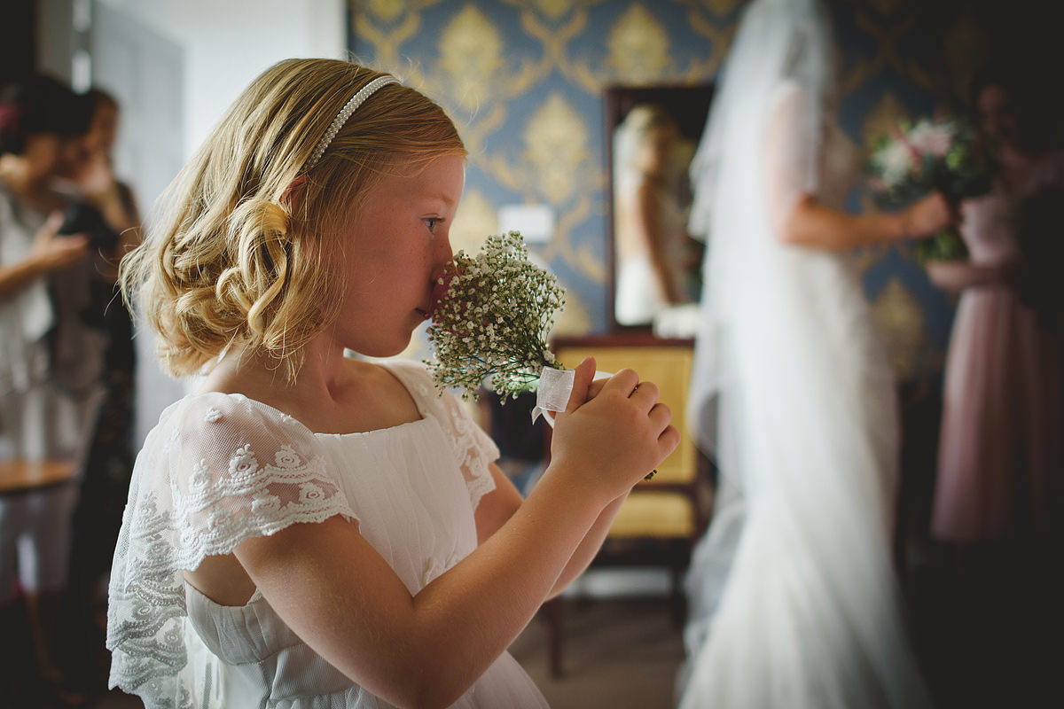 Flower girl at a Tregenna Castle wedding