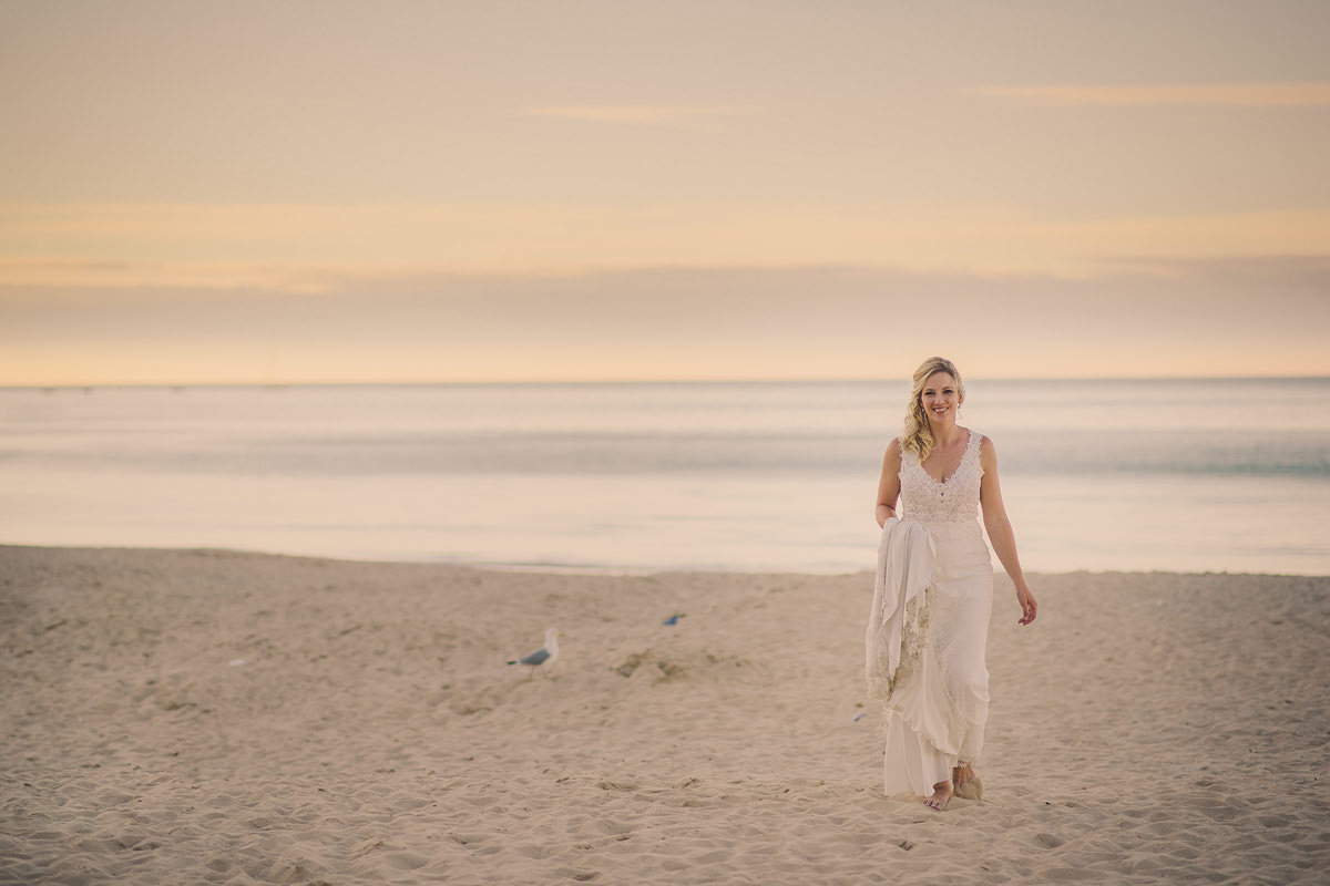 Bride sunset photo at Carbis Bay beach