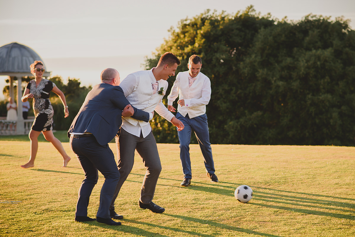 Football game at Tregenna Castle weddings