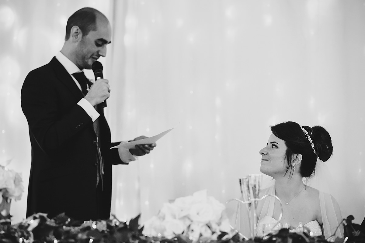 Bride reaction to groom's speech