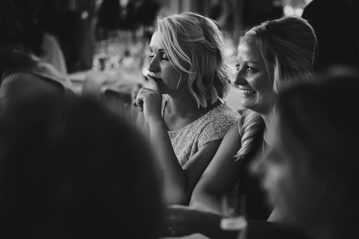 Bridesmaid tearing up at speeches