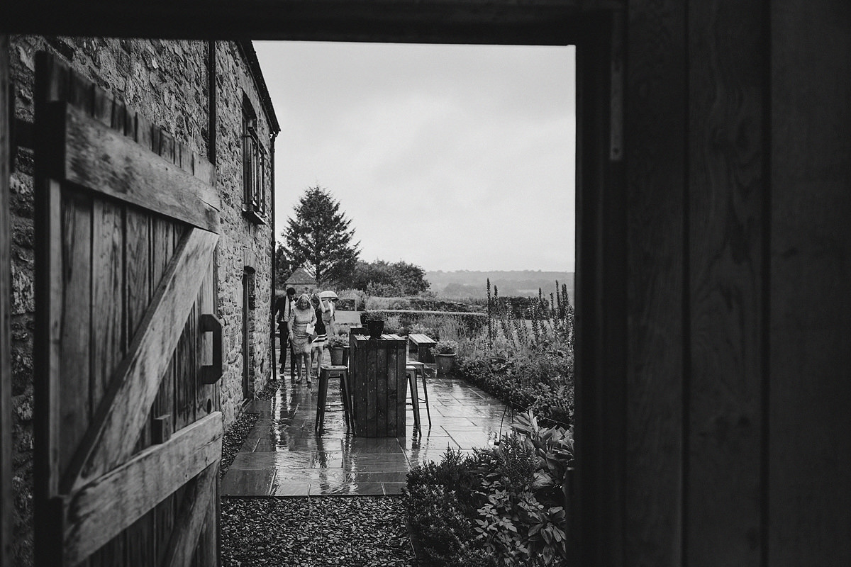 Rain at a Trevenna Barns wedding